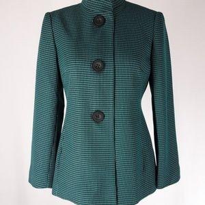 Emily Jackets & Coats - Emily | Teal Houndstooth Button Blazer Jacket (6)
